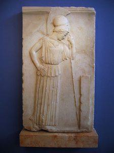 Atena ubrana w peplos przykład tkaniny z lnu